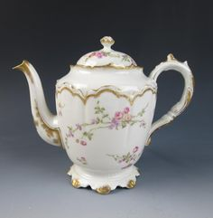Antique HAVILAND Limoges Wright Tyndale Van Roden Teapot Pink Roses France Gold
