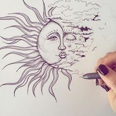 Everything but the sun rays and lips Back Thigh Tattoo, Thigh Piece Tattoos, Back Piece Tattoo, Sun Drawing, Painting & Drawing, Sun And Moon Drawings, Sun Moon Tattoos, Creative Drawing Ideas, Cloud Tattoo