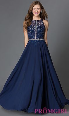 Prom Dresses, Celebrity Dresses, Sexy Evening Gowns: Illusion Top Racerback Floor Length Dress