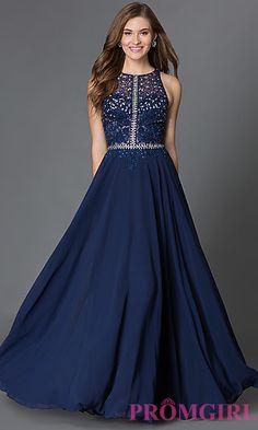 Illusion-Top Racerback Floor-Length Prom Dress at PromGirl.com