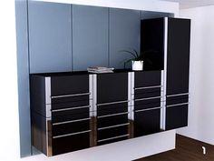 Space-Saving Sliding Kitchen Cabinet System - http://freshome.com/2009/07/23/space-saving-sliding-kitchen-cabinet-system/