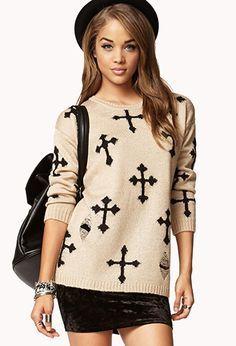 Cross Print Sweater Forever 21 | Fall Fashion on Pinterest | Wear A Scarf, Purple Cardigan ...