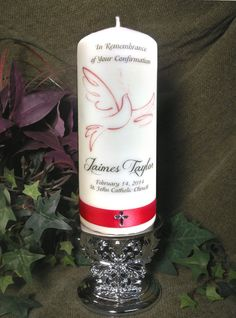 Confirmation Candle with ribbon Personalized by JCembossing