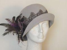 Light gray cloche hat for women - 20s felt hat - Gatsby winter hat handmade by Rana Hats Israel on Etsy, $175.00