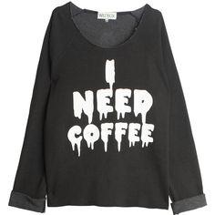 WILDFOX Coffee Sweatshirt ($147) ❤ liked on Polyvore featuring tops, hoodies, sweatshirts, shirts, sweaters, t-shirts, shirts & tops, baggy sweatshirts, wildfox sweatshirt and coffee shirt