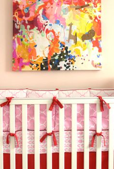 Project Nursery - Pink and Red Crib Bedding
