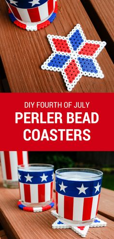 Easy DIY Perler bead coasters for your Fourth of July cookout. Makes a fun and useful kid's summer craft activity!