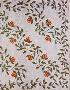 Pomegranate Applique Quilt detail. Maker unknown.