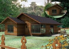 :: CASUR :: - Casas Prefabricadas Modelo Montreal #casaspequeñasdecoracion Log Home Kits, A Frame House Plans, Log Home Floor Plans, Futuristic Home, Casas Containers, Cottage Style Homes, Wooden House, House In The Woods, Log Homes