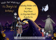 Nightmare Before Christmas Theme Birthday Party Invitation/ Halloween Jack and…