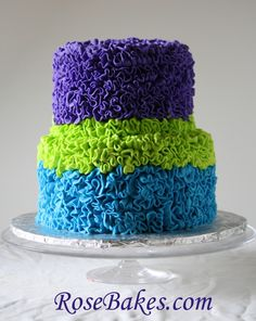 Bold Bright Peacock Colors on a Messy Buttercream Ruffles Cake