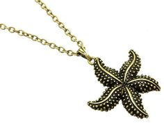 Burnished Gold Plated Starfish Necklace Long 28 inch Shell Beach Sea Life USA #Unbranded #Pendant