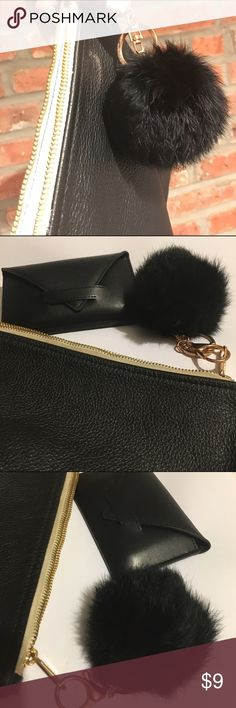 Genuine Rabbit fur black Pom Pom keychain charm Fun handbag charm made from real rabbit hair. Adds extra style to any bag. The fur ball includes a keychain ring as well as a large lobster clasp. Thanks! Accessories Key & Card Holders