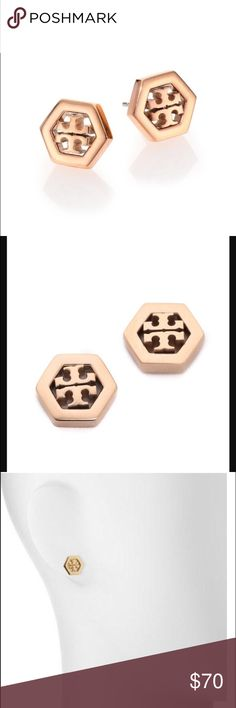 Tory Burch Rose Gold Hex-Logo Earrings Tory Burch Rose Gold Hex-Logo Earrings.  New with tag.  Includes dust bag and makes the perfect gift for anyone who loves rose gold and Tory Burch. Tory Burch Jewelry Earrings