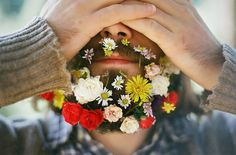 flowers and beard