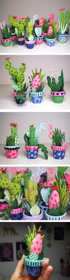 Illustrator Kim Sielbeck uses paper, polymer clay, and more to construct tiny cacti you can hold in the palm of your hand. File under: do want!
