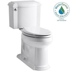 KOHLER Devonshire 2-piece 1.28 GPF Elongated Toilet with AquaPiston Flush Technology in White-K-3837-0 - The Home Depot