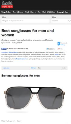 Ivory Mason featured in the Best Sunglasses for Men on Time Out NY.com!  http://www.timeout.com/newyork/shopping/best-sunglasses-for-men-and-women?pageNumber=2