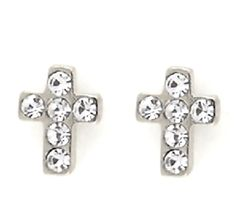 Mini Cross Clear Crystals Stud Earrings Post Back Queen's Jewelry #QueensJewelry #QueensJewelry #Stud #Pearls #Rhodium #Gold #Plated #Jewelry #Trends #Women #Fashion #Classic #Beauty #PostBack #Butterfly #Comfort #Charm #Trendy #religious #earrings