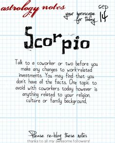 Scorpio Astrology Note: Hey Scorpio, follow us for horoscopes every day!