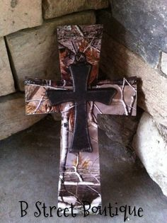 Real Tree Camo Wooden Wall Cross by bstreetboutique on Etsy