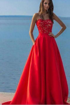Prom Dresses Lace #PromDressesLace, Red Prom Dresses #RedPromDresses, Red Lace Prom dresses #RedLacePromdresses, A-Line Prom Dresses #ALinePromDresses