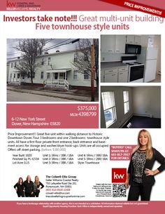 6-12 New York St., Dover, NH 03820 || Commercial || offered at $375,000 || Great five unit with in walking distance to Historic Downtown Dover four 3BR townhouse style units & one 2BR townhouse style unit - All units have a first floor private front & back entrance & basement access for storage. Units are all occupied - Offers off street parking. || The Colwell-Ellis Group Keller Williams Coastal Realty (603) 610-8500 x2488