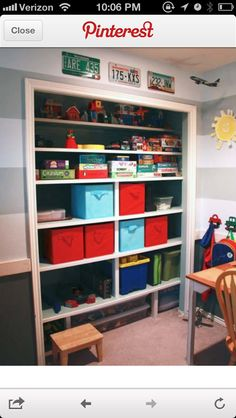 Playroom-remove closet doors and use for storage