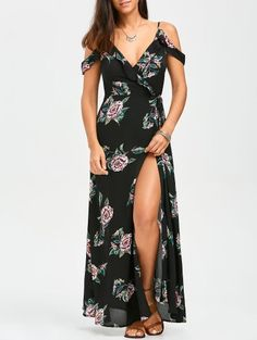 Floral Cold Shoulder Wrap Dress - Floral S Wrap Dress Floral, Maxi Wrap Dress, Dress P, Dress Outfits, Casual Dresses, Fashion Outfits, Summer Dresses, Trendy Fashion, Floral Maxi