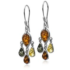 Sterling Silver Multicolored Amber Dangle Earrings *** Click image to review more details.