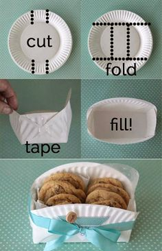DIY cookie basket made from a paper plate - Clever home-made gift basket for baked goodies! -easy DIY cookie basket made from a paper plate - Clever home-made gift basket for baked goodies! Cookie Baskets, Food Baskets, Cheap Baskets, May Day Baskets, Easter Baskets, Egg Basket, Moses Basket, Ideias Diy, Paper Plates