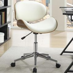 Mirage Adjustable Modern Curved Wood Cream Upholstered Swivel Office Chair. Little back support