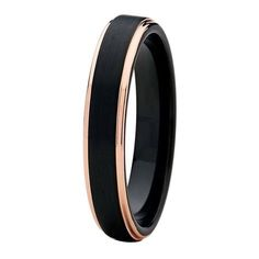 Black Tungsten Ring Rose Gold Wedding Band Ring Brushed Tungsten Carbide 4mm 18K Tungsten Ring Man Wedding Band Stepped Edges Male Women Anniversary His Hers Matching