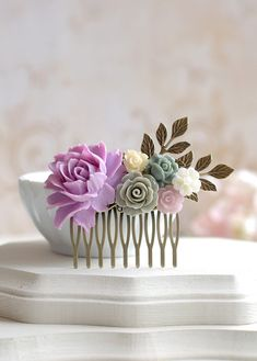 Lavender Lilac Grey Ivory Flower Statement Hair Comb, Lavender Lilac Rose Antiqued Brass Leaf Hair Comb, Wedding Bridal Hair Accessory by LeChaim, $29.50 https://www.etsy.com/shop/LeChaim
