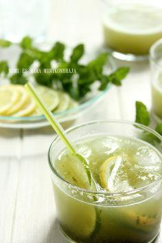 Citromos menta ital Cocktail Drinks, Cocktails, Elderflower, Cantaloupe, Smoothie, Lime, Ice Cream, Fruit, Hot