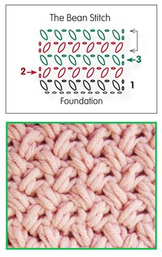 Sophie and Me: Crochet the Bean-Stitch. Used for the Basket Weave Sweater.