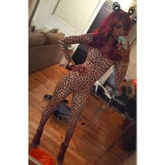 Pin for Later: You Won't Believe What the Victoria's Secret Angels Have Worn on Halloween  Now that's one leggy leopard!