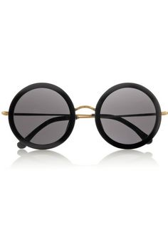 065aae5cf8 http   www.net-a-porter.com product 468487 The Row leather-trimmed-round-frame-acetate-and-metal- sun