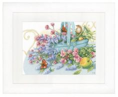 Bouquet with Peacock Butterfly (Aida) - Cross Stitch Kit