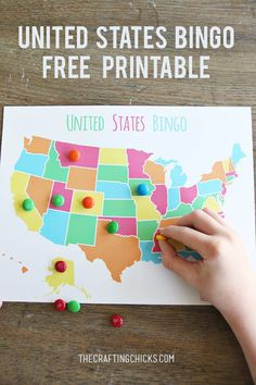 Your kids can learn and play with this free United States bingo printable. Learn state facts while having sweet fun. Great game for students in the classroom as well!