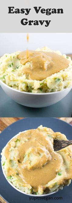 Vegan Gravy (with a secret ingredient!) This savory vegetarian gravy is flourless, gluten-free and thickened with a secret ingredient. But it tastes just like classic gravy. Yes, the ingredient is beans! You'll love this plant-based gravy. Vegetarian Gravy, Vegan Gravy, Vegetarian Recipes, Vegan White Gravy Recipe, Vegan Sauces, Vegan Foods, Vegan Dishes, Vegan Apps, Vegan Turkey