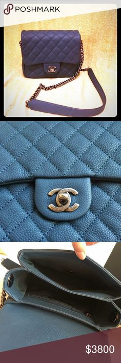 c54a77557e8b Chanel mini square flap bag Brand new with receipt 2016 July. Navy blue in  classic