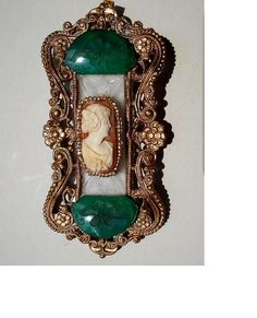 Art Nouveau Hand Carved Carnelian Shell Set On Ornate Wavy Filigree Pendant Pin on Camphor Glass with Etched Flowers Emerald Glass by emenow, $99.90