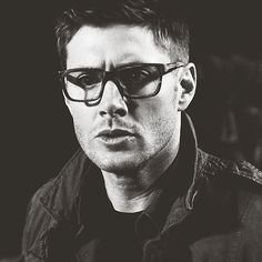 Forever repin: Jensen Ackles as Dean Winchester... In sexy hipstery glasses.