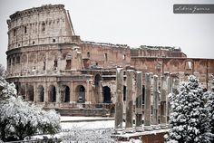 Colosseo under the snow. Rome