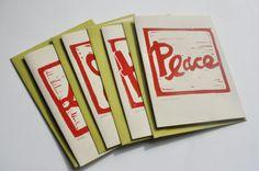 PEACE LOVE HOPE JOY  - Hand made, Hand-printed, Holiday Cards