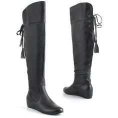 Women Black Thigh High Wedge Goth Dress Boots Sale  SKU-143292