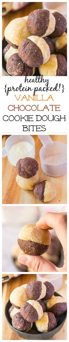 No Bake Vanilla Chocolate Cookie Dough Bites- Have the best of both worlds in these healthy protein packed snacks! @thebigmansworld- thebigmansworld.com