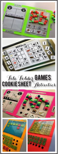 file folder games and cookie sheet activites are essential in my classroom! They are helping to strengthen their reading skills through letter recognition, CVC words and hands on literacy! File Folder Activities, Pre K Activities, File Folder Games, Activity Games, File Folders, Abc Games, Classroom Activities, Classroom Ideas, Cookie Sheet Activities