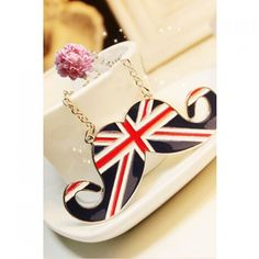 2.33$  Watch now - http://diaf4.justgood.pw/go.php?t=184963101 - Union Flag Mustache Shape Pendant Britain Style Necklace 2.33$